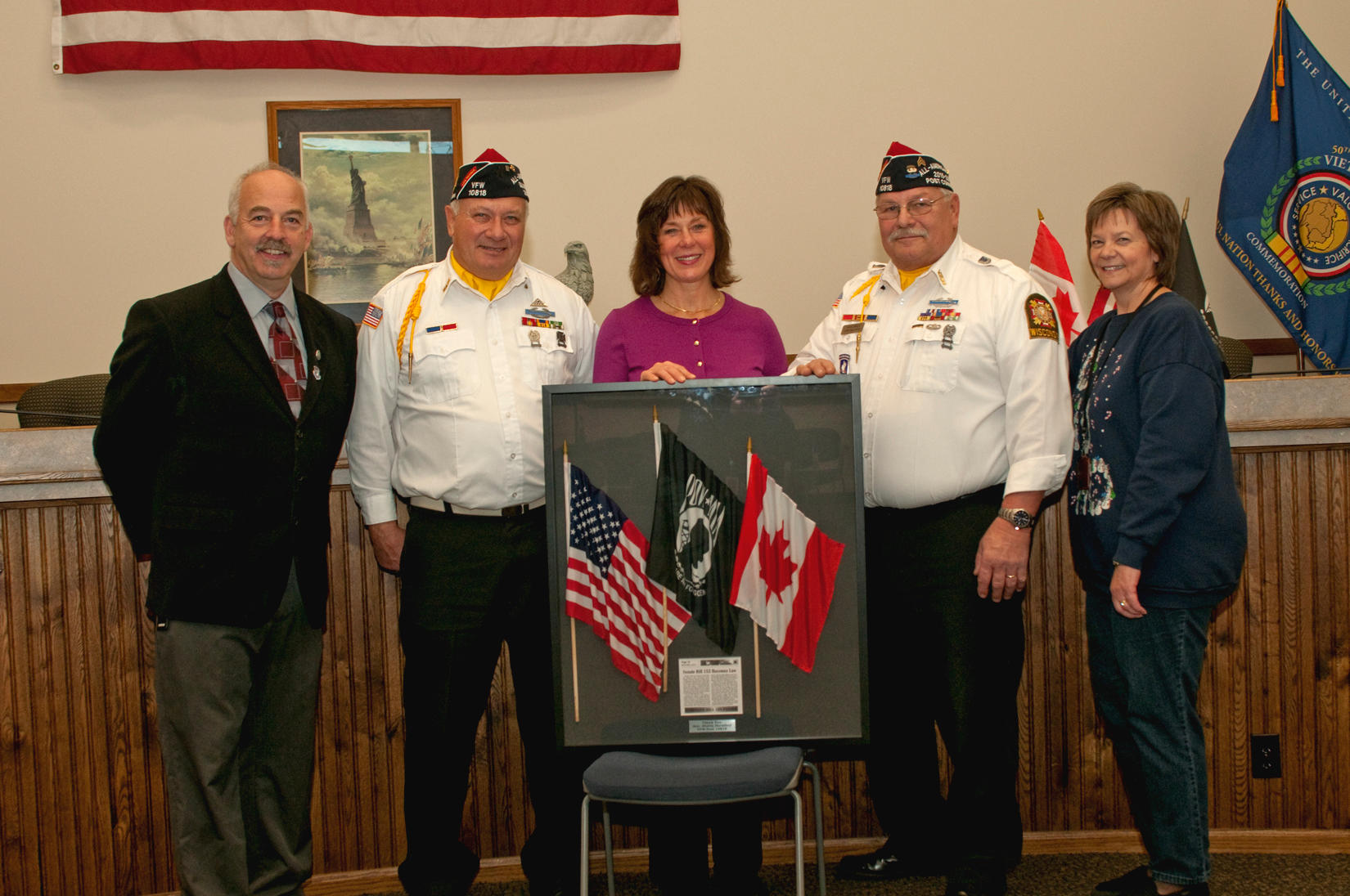 Those attending the presentation are (from the left) New Richmond Mayor Fred Horne, VFW Post 10818 member Ken House, State Sen. Sheila Harsdorf, VFW Post 10818 member Dave Green, CVSO Technician Geri Campbell. (Photo by Tom Lindfors)